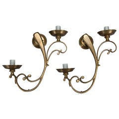 Pair French Brass Elongated Scroll Two Light Sconces