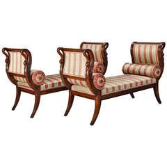 Pair of French Empire Style Upholstered Swan Benches