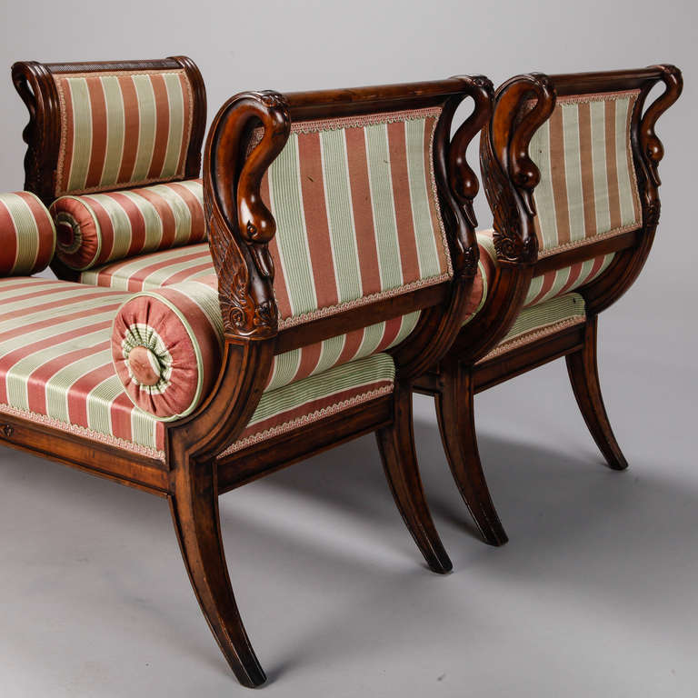 A Pair Of Period French Chairs With Missoni Fabric At 1stdibs: Pair Of French Empire Style Upholstered Swan Benches At