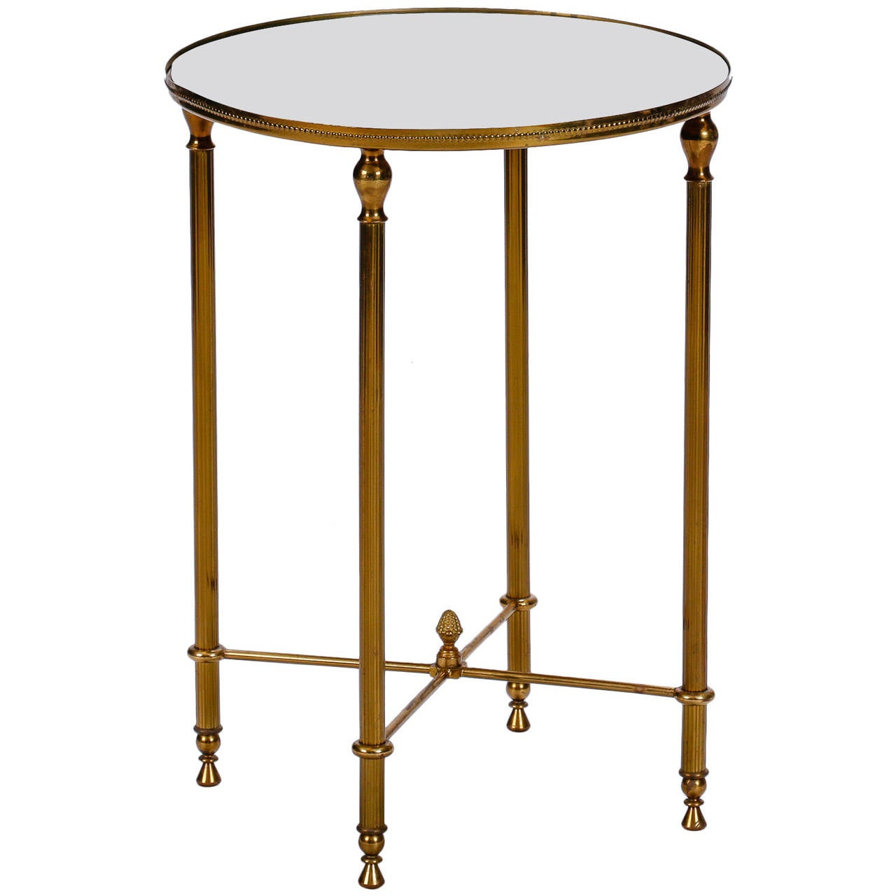 Mid century round brass side table with mirrored top at