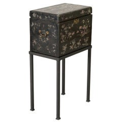 Black Enamel and Mother of Pearl Chinese Box on Stand