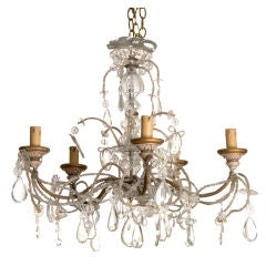 Five-Arm Beaded Chandelier with Carved Wooden Bobeches