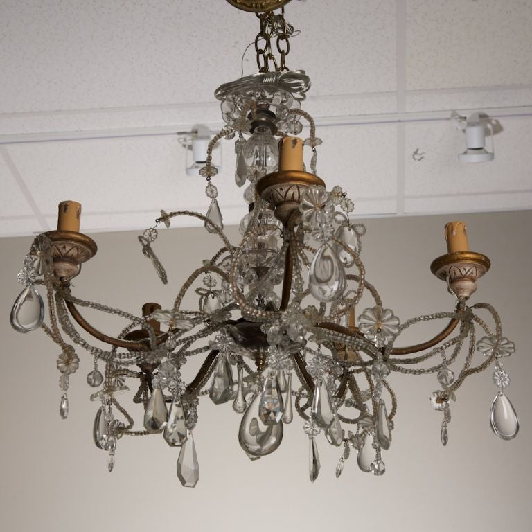 Five arm beaded chandelier with carved wooden bobeches at 1stdibs five arm beaded chandelier with carved wooden bobeches for sale 1 aloadofball Choice Image