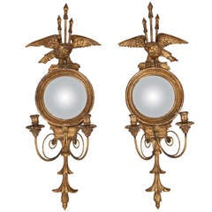 Pair Gild Wood 2 Light Eagle and Round Mirror Sconces