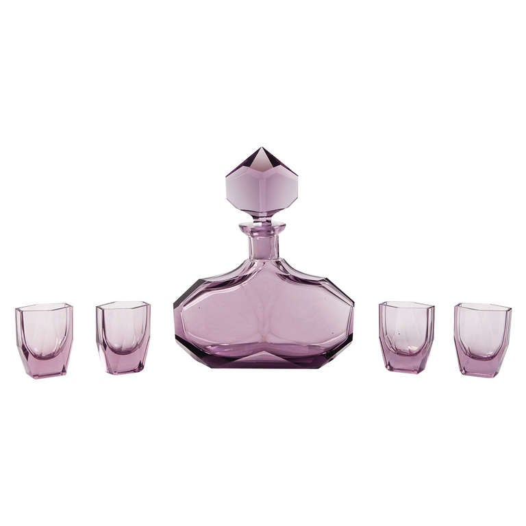 Large Amethyst Glass, Art Deco Decanter and Glasses