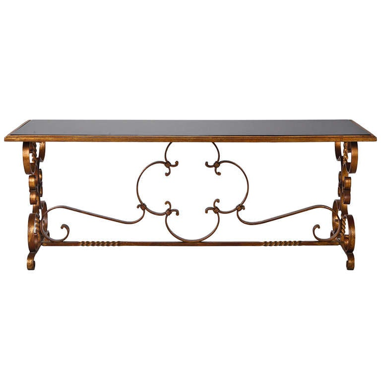 Italian Gilt Iron And Black Glass Cocktail Or Coffee Table For Sale At