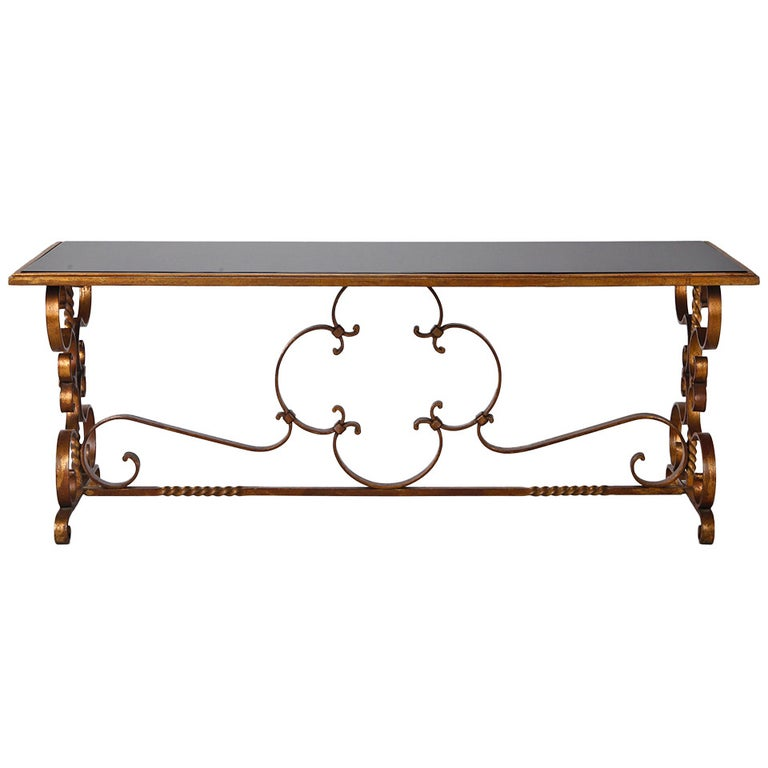 Italian Gilt Iron and Black Glass Cocktail or Coffee Table For Sale