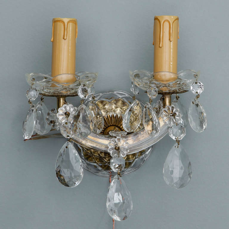 Italian Crystal Wall Lights : Pair of Italian Maria Theresa, Two Light Crystal Sconces at 1stdibs