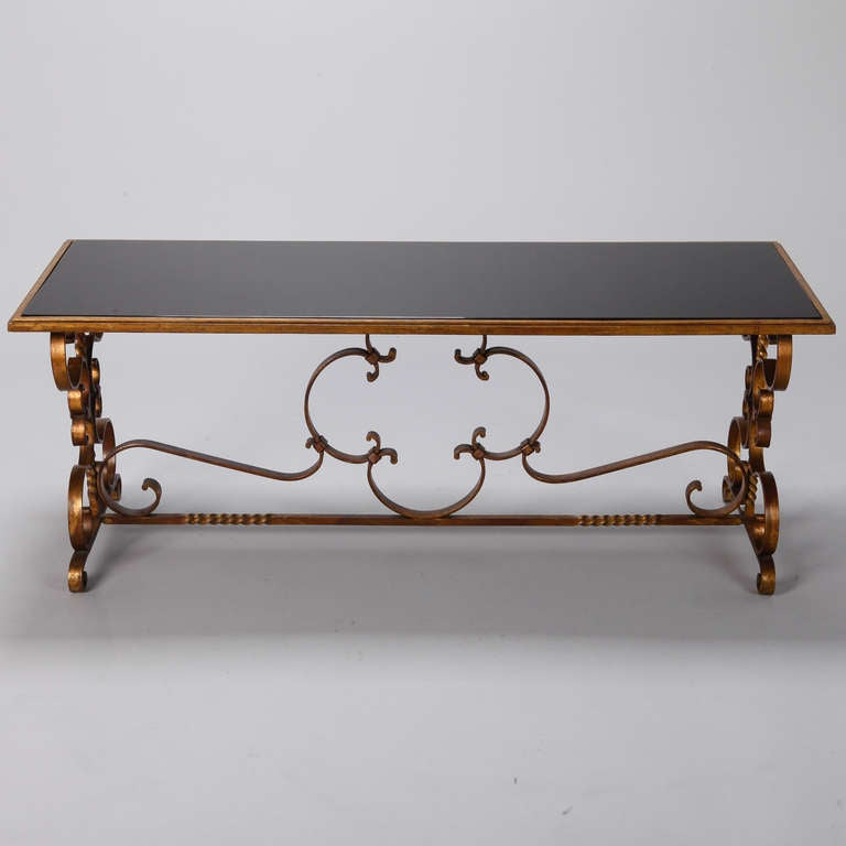 Italian Gilt Iron and Black Glass Cocktail or Coffee Table In Excellent Condition For Sale In Troy, MI