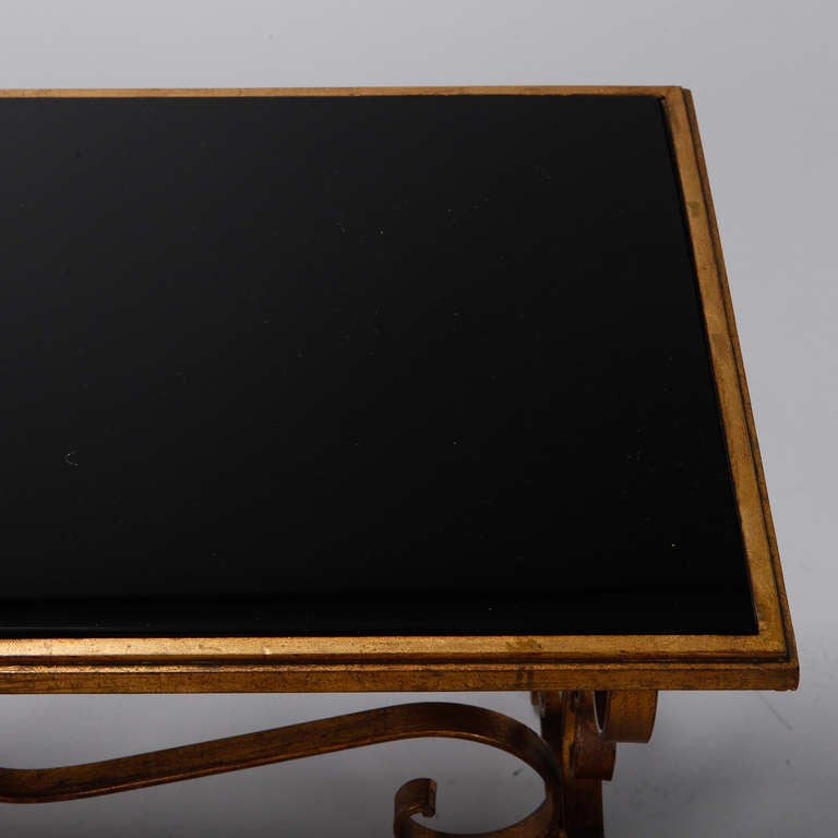Italian Gilt Iron and Black Glass Cocktail or Coffee Table For Sale 1