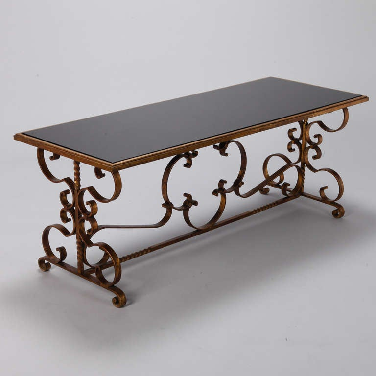 Italian Gilt Iron and Black Glass Cocktail or Coffee Table For Sale 2