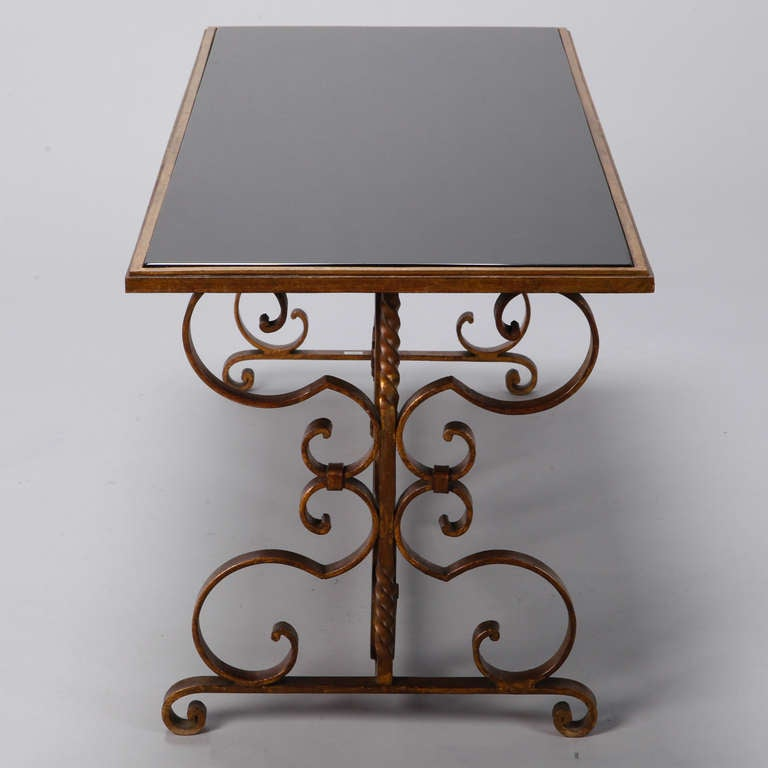 Italian Gilt Iron and Black Glass Cocktail or Coffee Table For Sale 3
