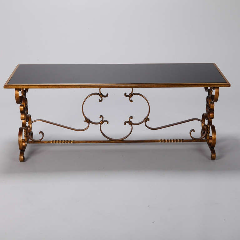 Italian Gilt Iron and Black Glass Cocktail or Coffee Table For Sale 4