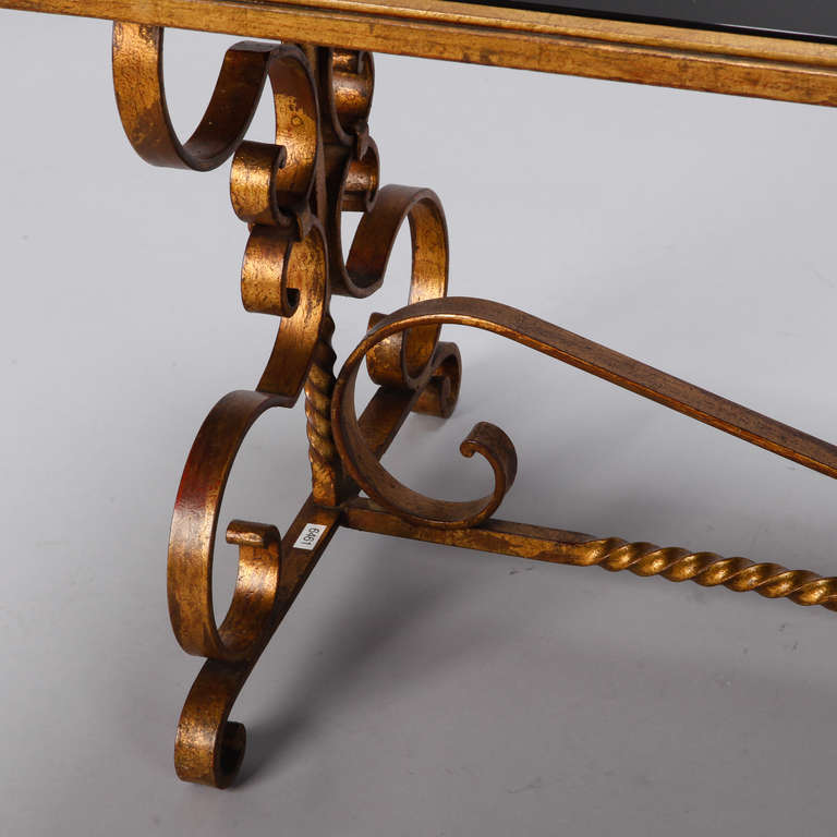 Italian Gilt Iron and Black Glass Cocktail or Coffee Table For Sale 5