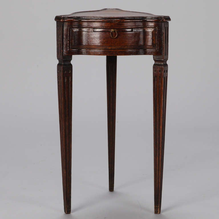 French Triangle Shaped Small Mahogany Side Table at 1stdibs
