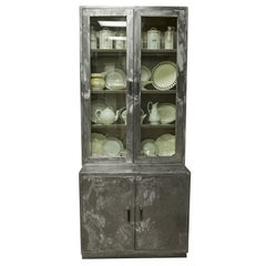 Midcentury French Polished Steel Industrial Cupboard