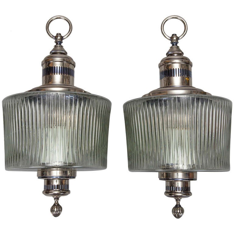 Pair Large Mid Century Chrome and Ribbed Glass Sconces at 1stdibs