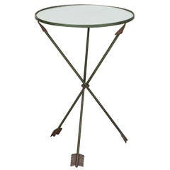 Neoclassical Mirrored Side Table with Tripod Arrow Base