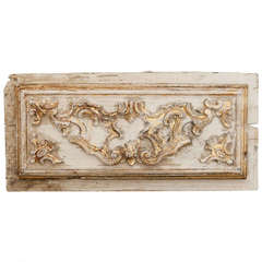 French Painted and Gilded Wooden Architectural Panel