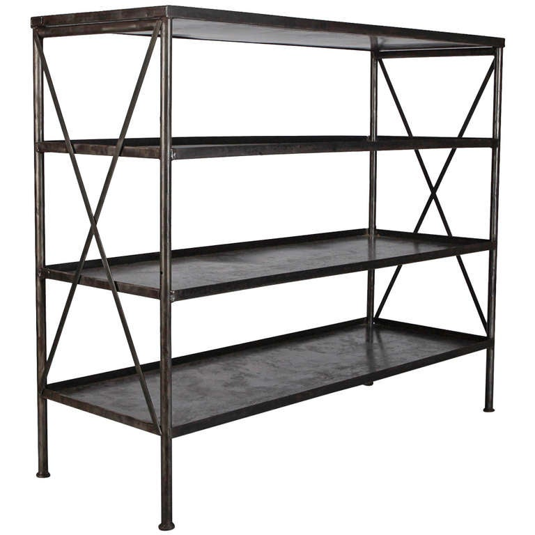 French Industrial Iron, Four Shelf Etagere 1