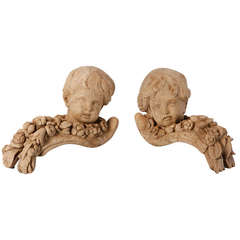Pair of 19th Century Bleached Oak Carved Cherubs
