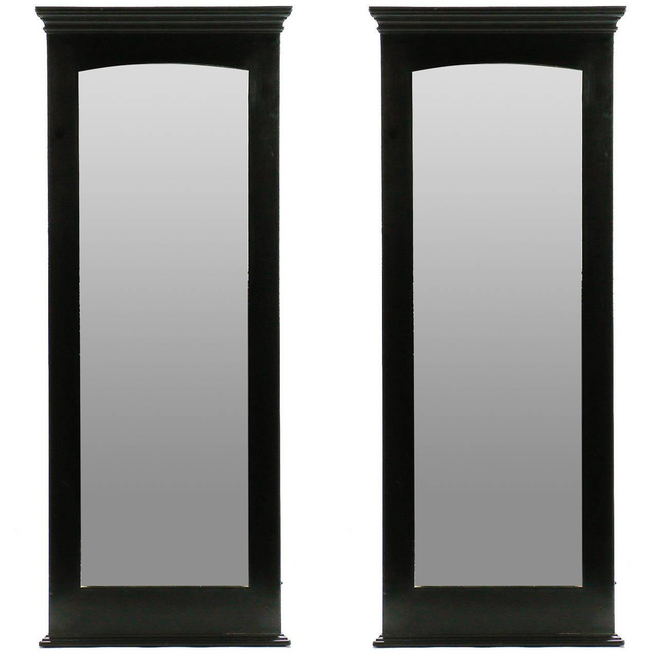 Pair midcentury tall narrow ebonised mirrors at 1stdibs for Skinny wall mirror