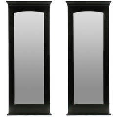Pair Midcentury Tall Narrow Ebonised Mirrors
