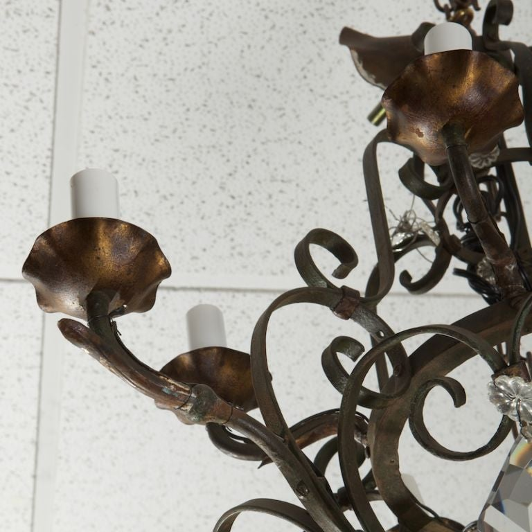 French Ten-Light Fer Forge Chandelier with Crystals For Sale