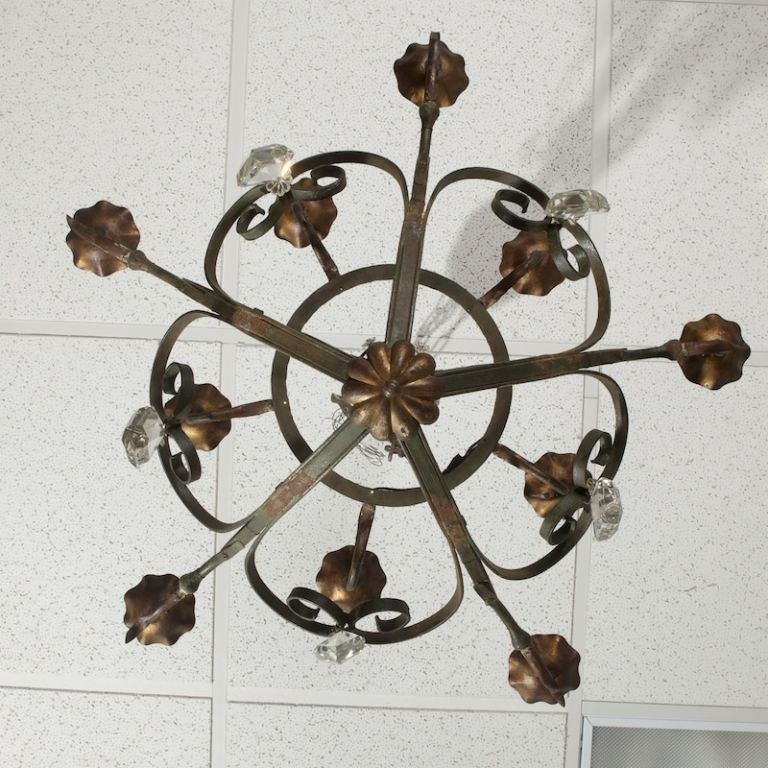 Ten-Light Fer Forge Chandelier with Crystals In Good Condition For Sale In Troy, MI
