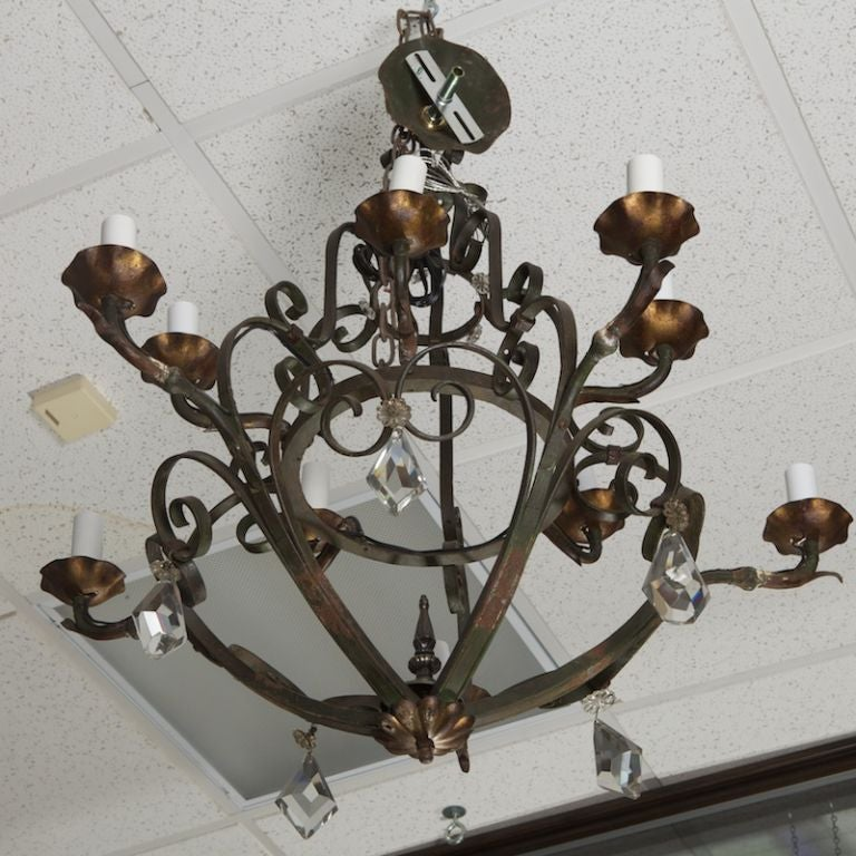 Ten-Light Fer Forge Chandelier with Crystals For Sale 1