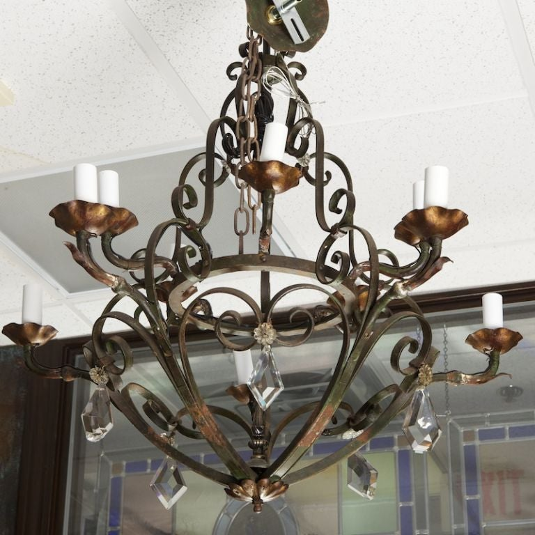 Ten-Light Fer Forge Chandelier with Crystals For Sale 2