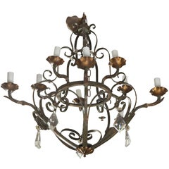 Ten-Light Fer Forge Chandelier with Crystals
