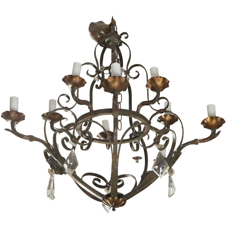 Ten-Light Fer Forge Chandelier with Crystals For Sale