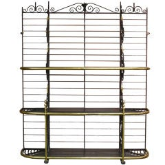 French Black Iron and Brass Bakers Rack