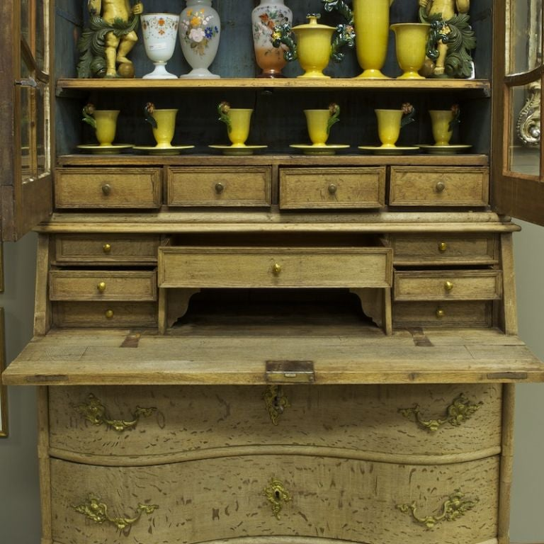 Dutch bleached oak cupboard with scrolled top at 1stdibs for Bleached maple kitchen cabinets