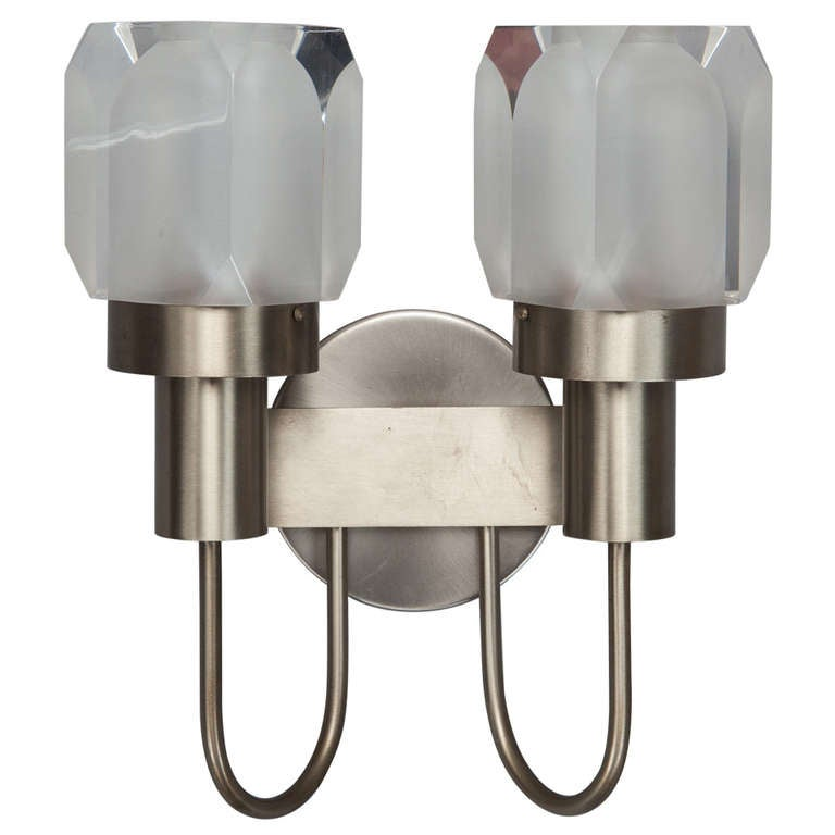 Mid Century Chrome Wall Sconces : Mid Century Gaetano Missaglia Acrylic and Chrome Wall Light For Sale at 1stdibs