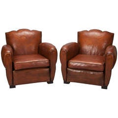 Pair Art Deco Brown Leather Club Chairs