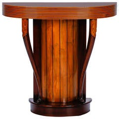 Art Deco Demilune Console with Reeded Edge