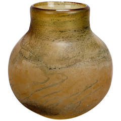 Midcentury Taupe and Bone Color Round Body Vase Attributed to Seguso
