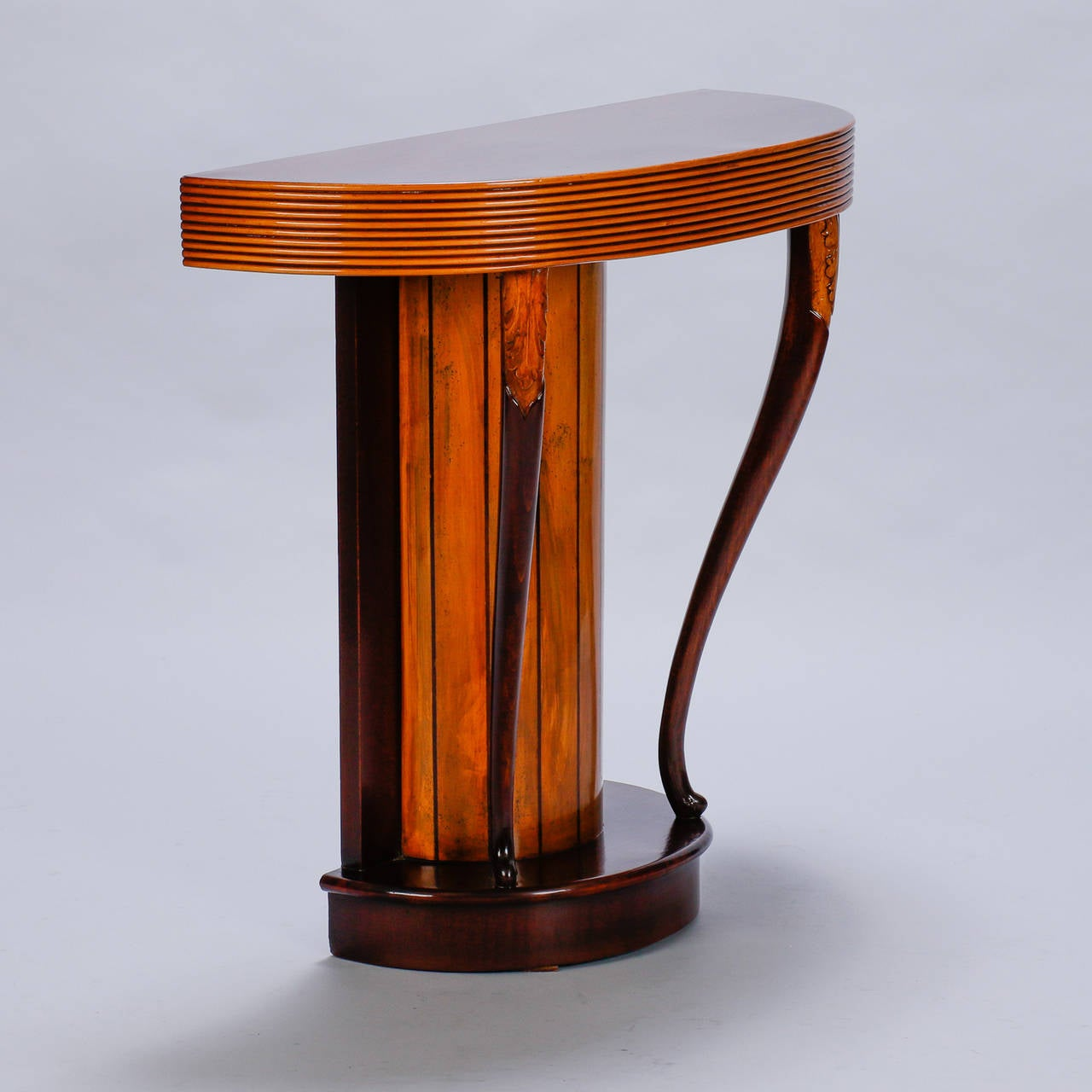 art deco demilune console with reeded edge at 1stdibs. Black Bedroom Furniture Sets. Home Design Ideas