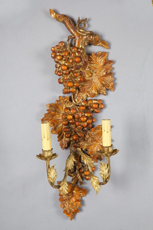 Wall Sconces With Grapes : Pair of French Two Light Wood Sconces with Grapes and Vines For Sale at 1stdibs