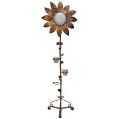 Tall Spanish Gilt Metal Sunflower Floor Lamp
