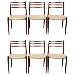 Set of 6 Niels Moller for J Moller #78 Rosewood Dining Chairs
