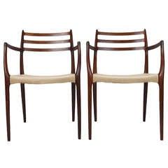 Pair Niels Moller for J Moller #82 Rosewood Armchairs