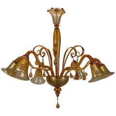 Large Amber Color Six-Arm Chandelier, attributed to Venini