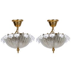 Pair of Mid Century Small Murano Glass Chandelier
