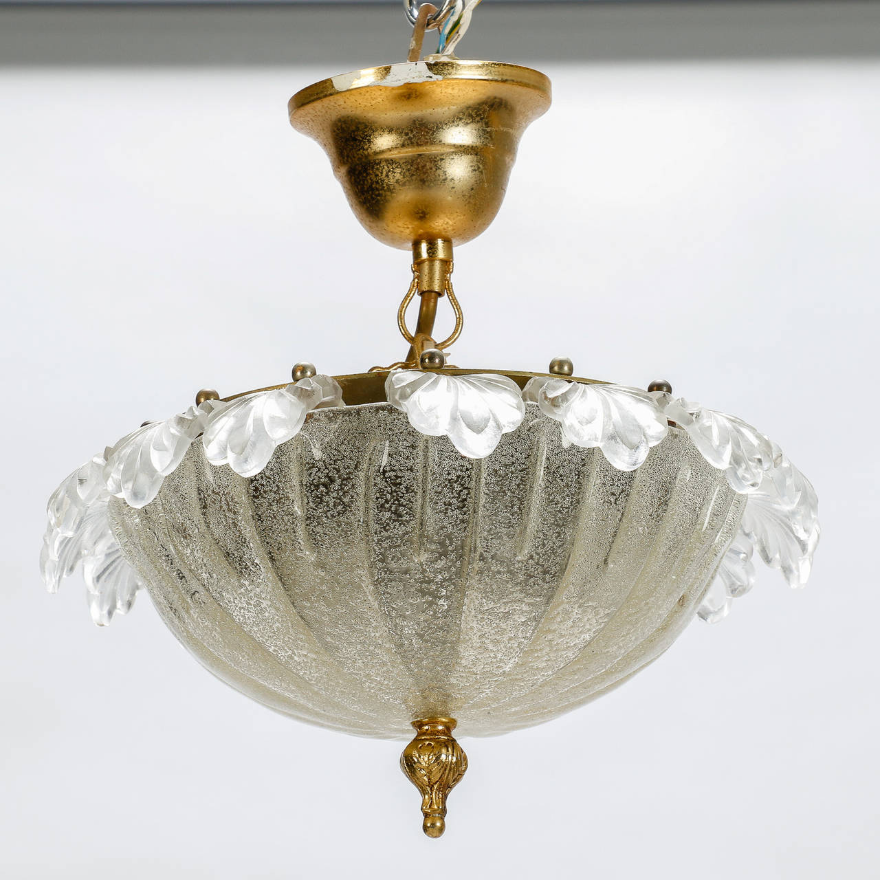 Small Murano Crystal Chandelier: Pair Of Mid Century Small Murano Glass Chandelier At 1stdibs