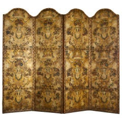 19th Century Painted and Tooled Leather Four Fold Screen