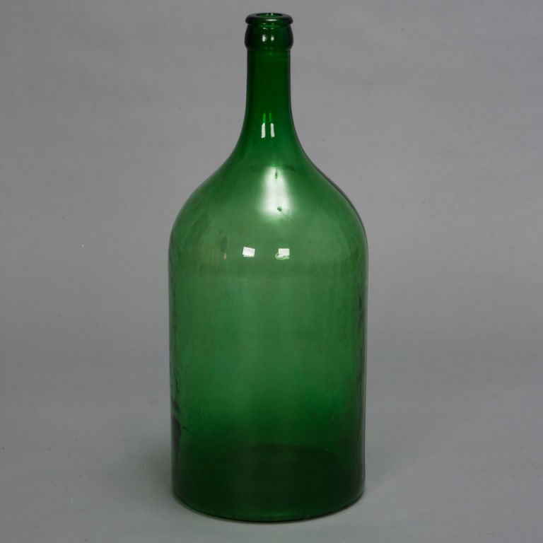 19th Century Large French Green Glass Wine Bottle 2