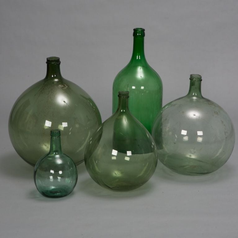 19th Century Large French Green Glass Wine Bottle 3